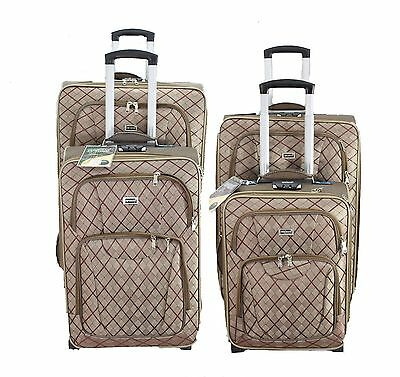 4 PCs Light weight Trolley Case 2 Wheel Spinner Travel Luggage Suitcase Bag