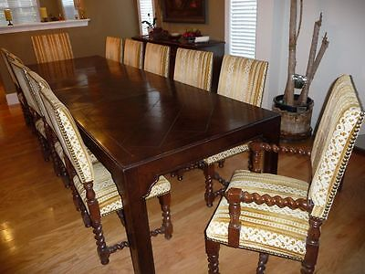 Henredon Four Centuries French Country Parquet Oak Dining Table, Chairs