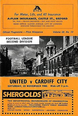 Football Programme>OXFORD UNITED v CARDIFF CITY Nov 1968