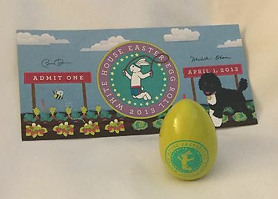 Obama Signed White House Yellow Green 2013 Easter Egg + Ticket Cllectible Rare
