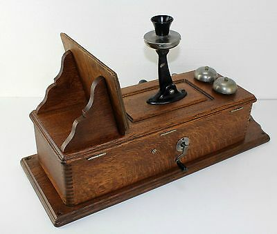 Antique Quartersawn Tiger Oak Cathedral Wall Telephone w Party Line Button Rings