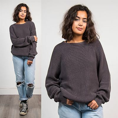 Womens Vintage 90's Grey Knit Jumper Oversize Crew Neck Grunge Fisherman 12 14