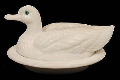 Charming Antique 19c Figural Duck on Basket Covered Milk Glass Box