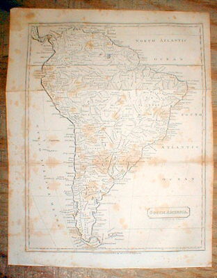 Original 1809 map of SOUTH AMERICA engraved before the SIMON BOLIVAR REVOLUTIONS