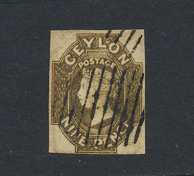 CEYLON 1859, 9d PURPLE BROWN, VF USED SG#8 (SEE BELOW PART OF A GROUP)