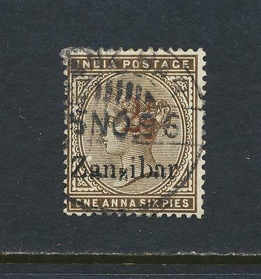 """ZANZIBAR 1896, 2½ on 1½as """"SMALL 2nd Z+ FIRST DAY"""" VF USED+CERT SG#29 (SEE BELOW"""