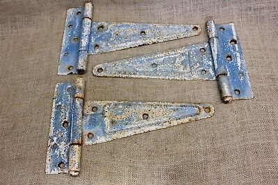 "3 old barn door hinges 12"" x 7 1/4"" strap Tee vintage rustic alligatored paint"