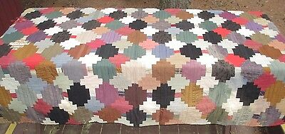 "Antique Patchwork Log Cabin Type Quilt, Hand Sewn, 66"" x 74"", Found in a Trunk"