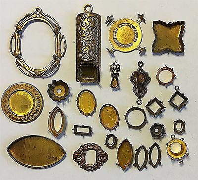 Vintage Lot# Di  Brass Mountings Settings 25 Piece Group-Great Assortment