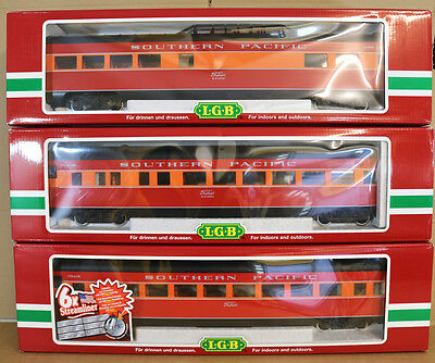 LGB 34570 34580 34590 G SCALE RAKE of 3 SOUTHERN PACIFIC SP DAYLIGHT COACH nk