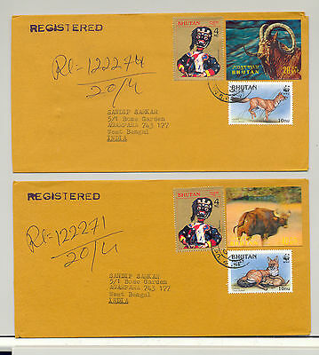 Bhutan 2000 3D, Horned Animals, WWF on 2v Registered Commercial Covers to India