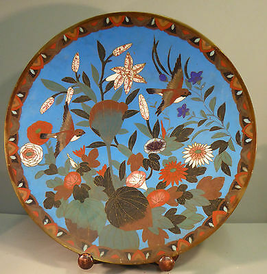 Japanese Antique Cloisonne Large Charger / Plate - Fine Bird Design Meiji Period