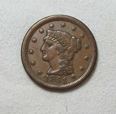 1851 Braided Hair Large Cent VERY FINE 1c