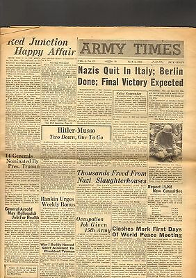 Army Times Newspaper WWII May 5 1945 Germans quit in Italy Berlin Done Victory