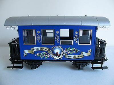 Vintage LGB G Scale Blue Merry Christmas Passenger Coach Car #29400 EX
