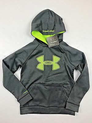 Under Armour Youth Boys' NEW Hoodie Grey Neon Yellow With Logo Size Youth Medium