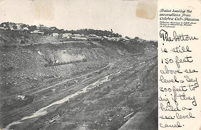 Panama Canal Zone Scott #9 Stamp Trains Hauling Excavations Postcard 1906
