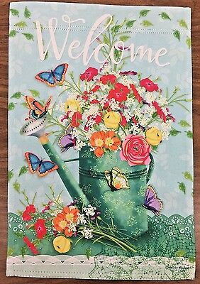 "Watering Can Welcome 12""  x 17.5"" decorative garden flag"