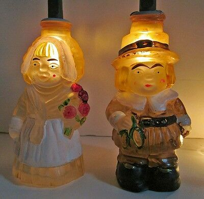 Thanksgiving 01 Glass Light Covers Pilgrim Boy & Girl Old World Christmas