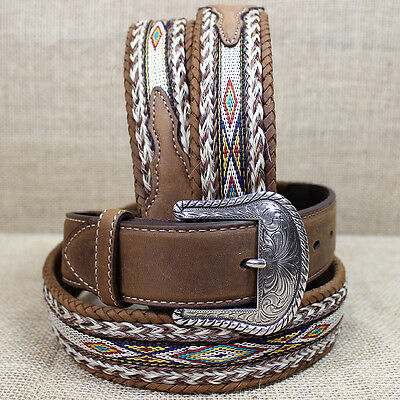 34 inch TONY LAMA BROWN MEN'S BADLANDS HORSE HAIR WITH RIBBON INLAY LEATHER BELT