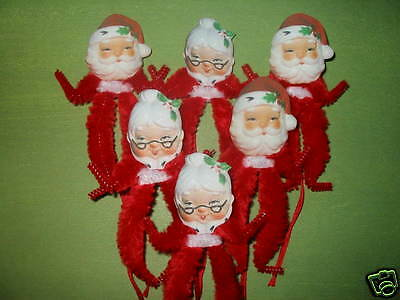 Primitive Vintage Style Christmas Mr. and Mrs. Claus Ornaments Chenille