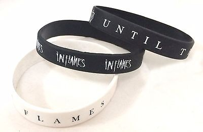 In Flames Until The End Of Time 3 pc Silicone Wristband Set New Official Metal