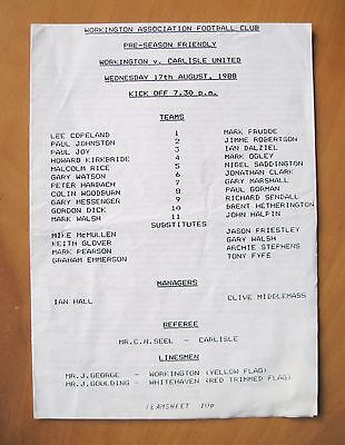 WORKINGTON v CARLISLE UNITED Friendly 1988/1989 VG Condition Football Programme