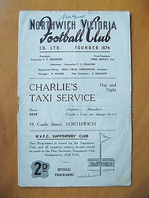 NORTHWICH VICTORIA v STOCKPORT COUNTY Reserves 1948/1949 *Fair Cond Programme*