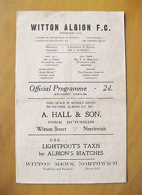 WITTON ALBION v PORT VALE Reserves 1949/1950 *Good Condition Football Programme*