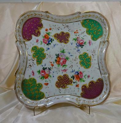 Antique French Porcelain Vanity Serving Tray Raised Gold Accented Trim