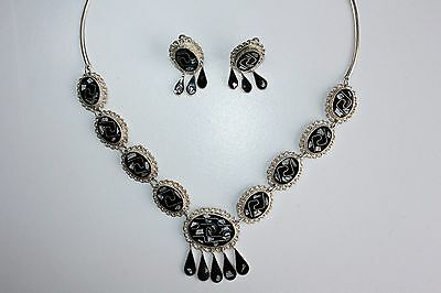 Mexico Alpaca Sterling Silver Inlaid Abalone Black Onyx Necklace & Earrings Set