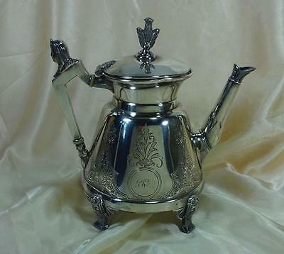 Antique Egyptian Revival  Silverplate Tea Pot Simpson Hall Miller Pat Date 1868