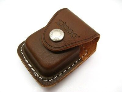 ZIPPO Brown Leather Lighter CLIP POUCH w/ Snap Closure LPCB New!