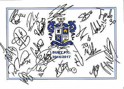 BURY FC, 2016/17 SUPERB SIGNED A4 CARD SHEET BY (20) IN TOTAL, (b)