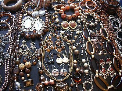 Lot Of Vintage/now Costume Jewelry Beautiful Browns Amber Bronze & Gold Tones