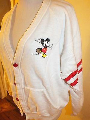 RARE Vintage 80s Mickey Mouse Cardigan White Red Stripes Sweatshirt Disney M L