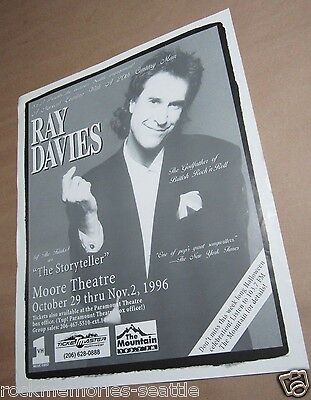 RAY DAVIES of The Kinks as The Storyteller 1996 Original Seattle Concert Poster