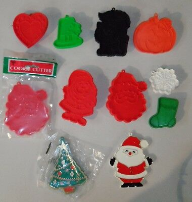 11 Hallmark Cookie Cutters Some Painted &NIP Halloween Xmas Valentine St Patrick