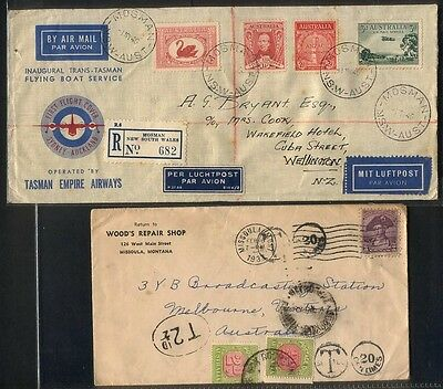First Flight Cover 1st May 1940 Plus Postage Due Tax on USA Cover to Melbourne