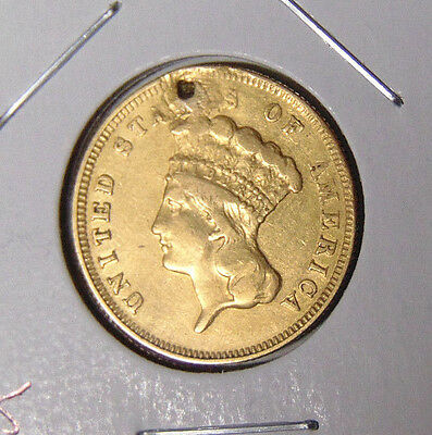 1878 Indian Princess $3 Gold VF Details Plugged Hole - Genuine Pre-1933 Gold