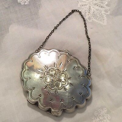 Antique Victorian Sterling Silver Engraved Silk Lined Coin Dance Card Purse