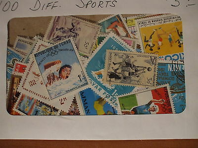 SPORTS  100 DIFFERENT STAMPS,  many sports represented