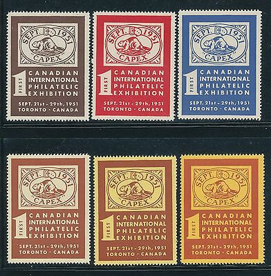 Canada -Capex 1951 1St Philatelic Exhibition Labels/stickers - 6 Different Color