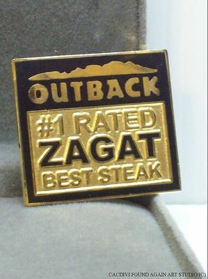Outback Steakhouse Logo Pin Zagat Rated #1 Best Steak Number One Hat Badge Lapel