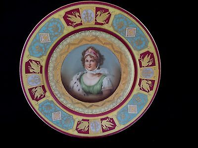 Royal Vienna style portrait plate 9.5in Queen Louise of Prussia heavy gilding