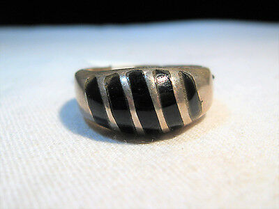 Vintage Heavy Large Sterling Silver Taxco Mexico Mens Inlay Onyx Ring K502
