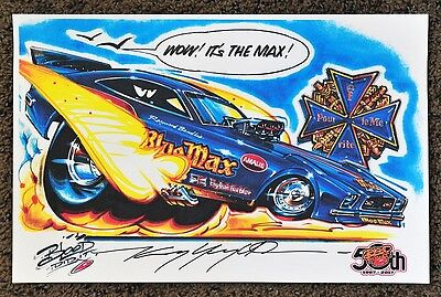 50Th Kenny Youngblood Signed Blue Max Raymond Beadle Funny Car Cartoon Print