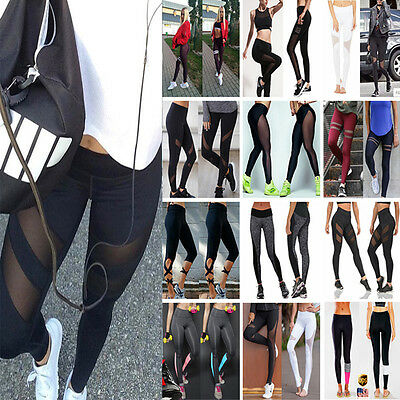 US Womens Sports Gym Yoga Workout MID Waist Running Pants Fitness Leggings S708