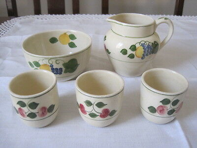 Adams Royal Ivory Titian Ware Fruits Creamer Sugar Bowl And Three Eggcups