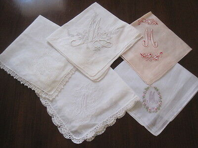 Five Vintage Fine Ladies Handkerchiefs With M Monogram